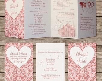 Concertina fold - lace design wedding invitation