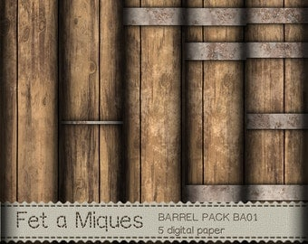 Barrel Digital Paper Pack BA01 for Scrapbooking