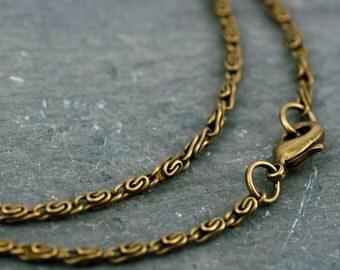 Antique Bronze 3D Knurled Coil Chain Necklace Chain Necklace 2.4mm cn199