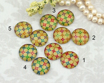 12mm,16mm,20mm cabs Handmade photo glass cabochon Mix Vintage checker flowers pattern old style 12g125