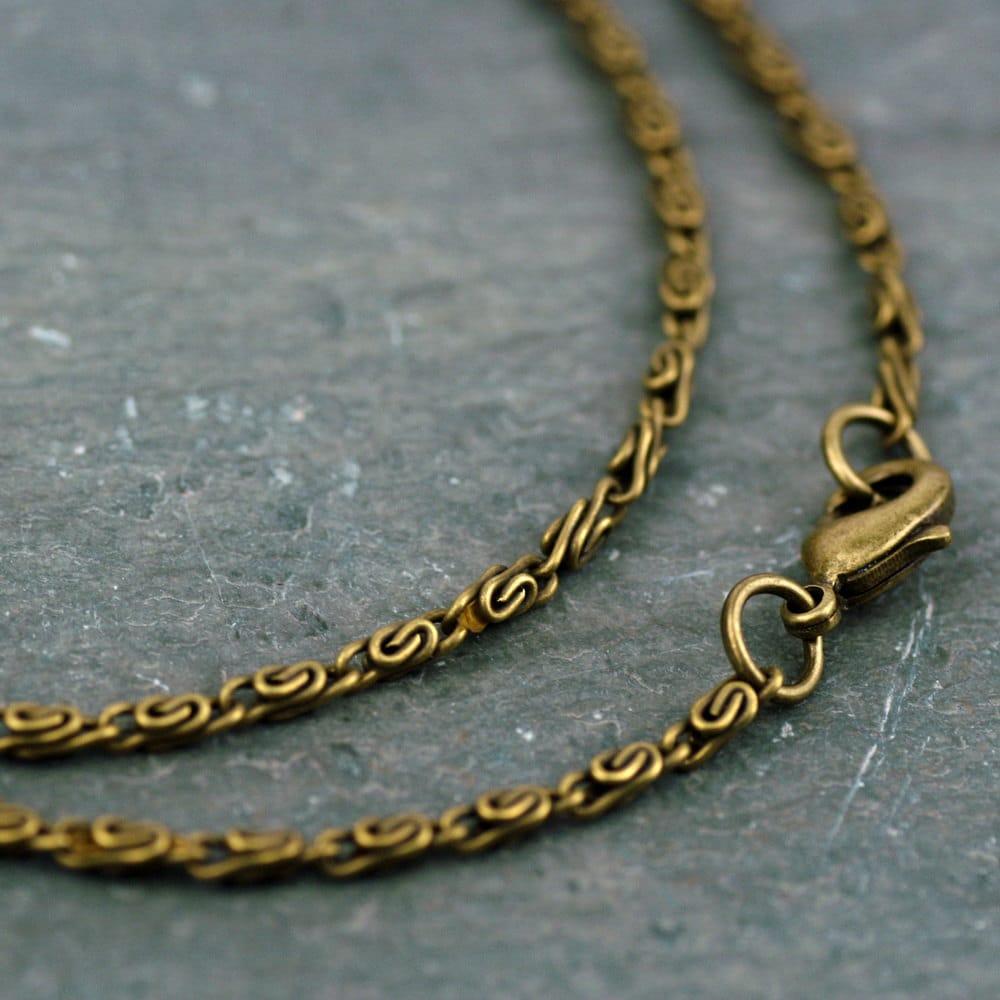 antique bronze 3d knurled coil chain necklace chain necklace
