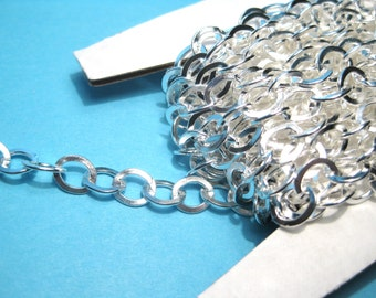 16 Ft Bright Silver Plated Link-Opened Rollo Chains Cable Chain 8x6mm (No.796)