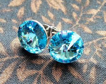 Handmade Swarovski Stud Earrings in Icy Blue 12 mm Rivoli Swarovski Stud Post - Bridal Earrings - Crystal Earrings - Free US Shipping