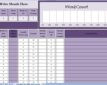 Writer's Word Count Tracker - 30 Day Month
