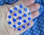 Navy blue POLKA DOTS, retro pendant, glass, unique jewelry, round big pendant. - JoannaJagoda