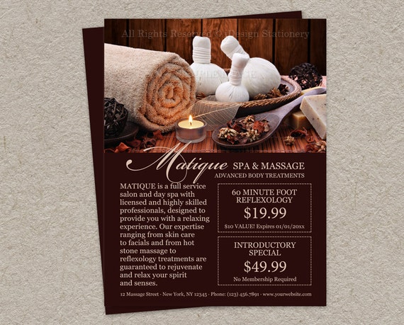 Printable Spa Salon Flyer With Menu Of Services And Prefilled