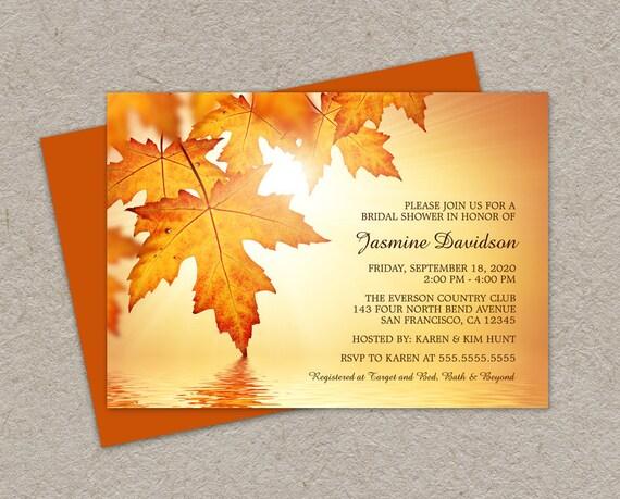 Fall Wedding Shower Invitations: Items Similar To DIY Printable Fall Bridal Shower