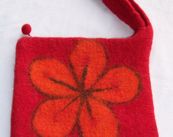 medium size felted bag with needle felted flower