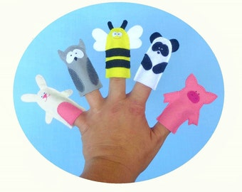 5 Forest  Animals Finger Puppets Set - felt finger  Puppets  toy  -  rabbit , bee, Panda , owl ,pig