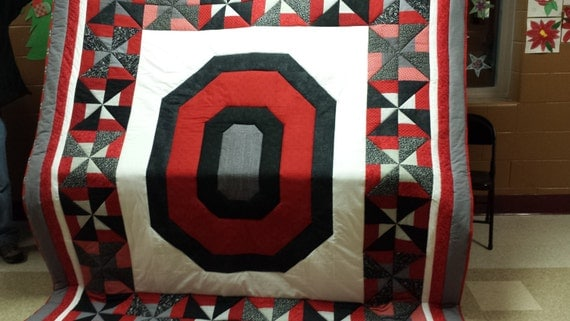 Block O Osu Buckeye Quilt Queen Size By Barbmemoryquilts