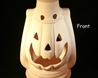 Ceramic Pumpkin Lantern (Unpainted Bisque)