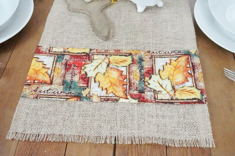 FairStreetCrafts by Autumn table Runner short  Fall length Burlap Table runner Runner Table