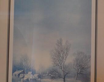 "French Artist G. Mangeri' Ltd. Ed. ""Winter Paysage"" 19"" x 25 1/12""  paper size."