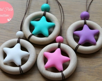 Wooden teething ring and silicone bead, baby-friendly nursing necklace. 'MARS' Available in 4 colours.
