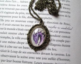 Cabochon purple Dragon necklace