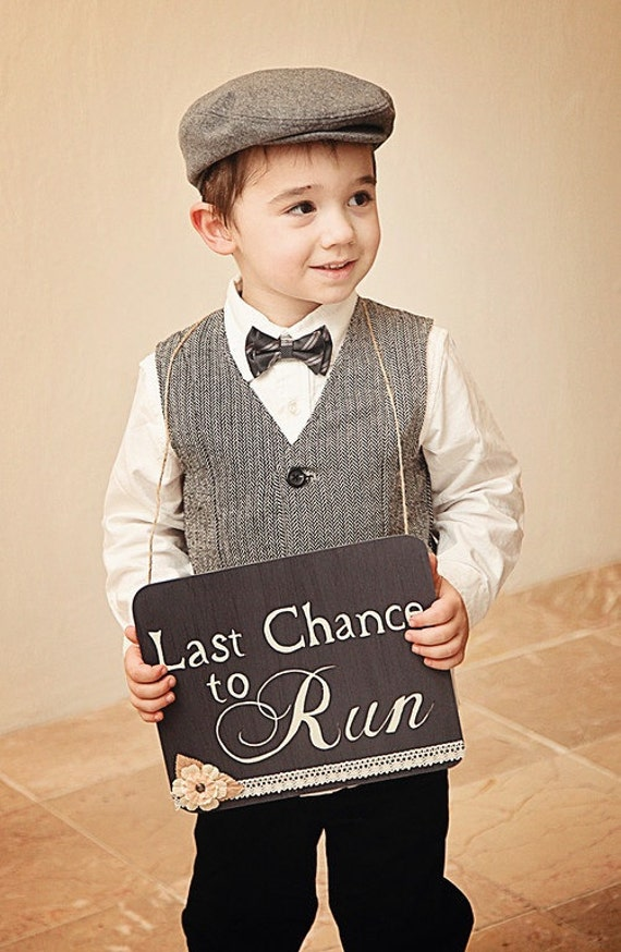 Last chance to run ring bearer wedding sign by ...