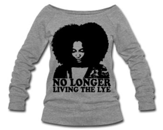 No Longer Living the Lye Natural Hair Wide Neck Off Shoulder Slouchy Women's Sweatshirt -Gray