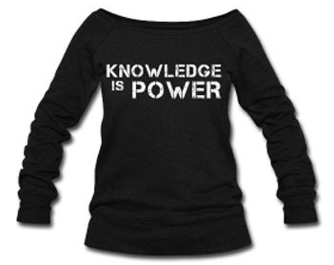 Knowledge is Power Wide Neck Off Shoulder Slouchy Women's Sweatshirt - Black