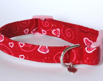 """Handmade Valentines red with hearts Dog Collar """"New"""""""