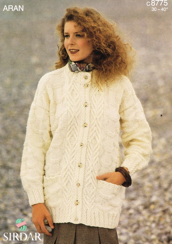 Sirdar 8775 Ladies aran cardigan vintage knitting pattern PDF