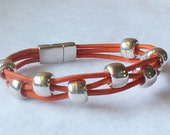 Handmade girl's orange leather beaded bracelet orange leather bracelet