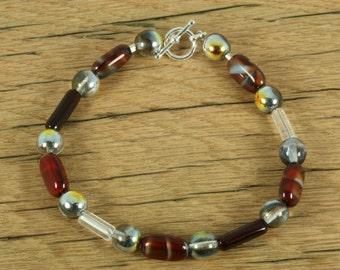 Czech Glass Bead Bracelet with Toggle Closure