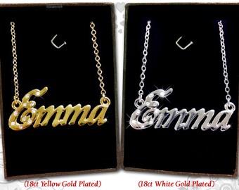 Name Necklace Emma - 18K Gold Plated, Czech Rhinestones