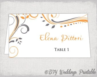 "place card template charcoal gray and orange ""Scroll"" name cards -DIY wedding printable place cards tangerine orange & gray instant download"