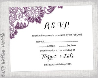 Wedding rsvp template download diy plum purple antique for Rsvp cards for weddings templates