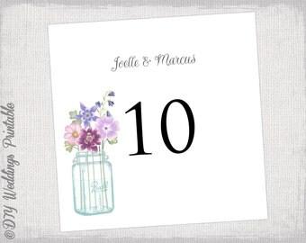 """Table number template DIY wedding number card """"Mason Jar"""" digital wedding printable pink & purple YOU EDIT Word /Jpg instant download"""