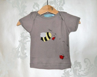 Organic Baby T-shirt - Hand Painted Bee & Ladybirds - Size 3 - 6m
