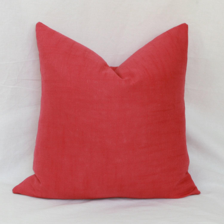 Throw Pillows Rules : Raspberry linen decorative throw pillow cover. 18 by JoyWorkshoppe