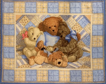 Baby Blanket Quilt Teddy Bears Blue