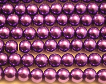 Purple Glass Pearl Beads - 8mm - 48ct