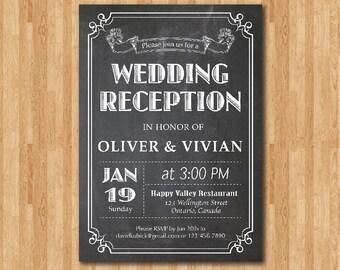 Wedding Reception Invitation Chalkboard. Reception Invite. Wedding Dinner. Black and White typography. Printable digital DIY.