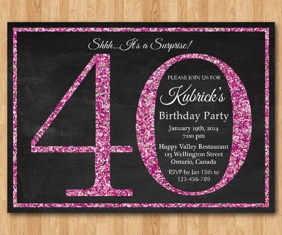 Ben noto invito di compleanno 40 per le donne. Invito festa di KY69