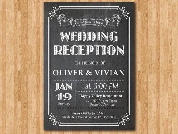 Wedding Reception Invitation Chalkboard. Reception Invite.