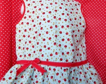 Apple and flower print top with bow and frill detail 1-2 years