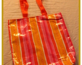 Pink and Orange Striped Tote