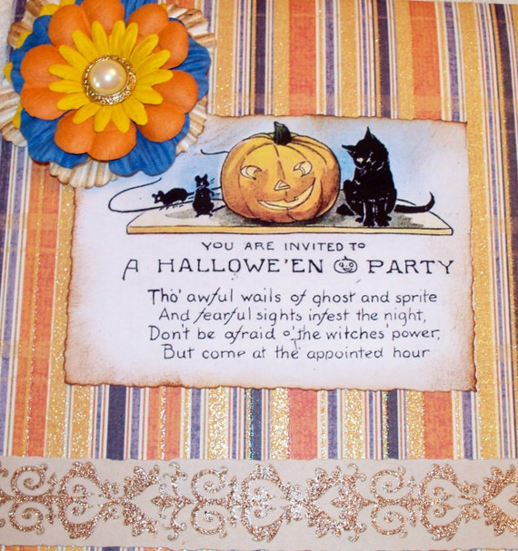 Custom Vintage Victorian Altered Halloween Greeting Card, Custom Order, Pumpkins Black Cats