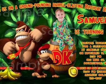 Donkey Kong Custom Photo Birthday Party Invitations