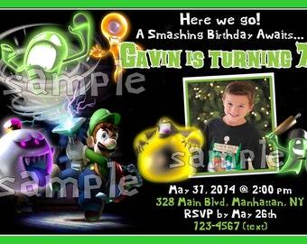 Nintendo Mario Bros Luigi's Mansion Custom Photo Birthday Party Invitations