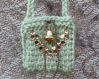 Goddess Totem Pouch Medicine Bag Stash Talisman Necklace Jewelry Potpourri Sachet - Smokey Green, Sequin V & Bell Embelishment (Bell rings!)
