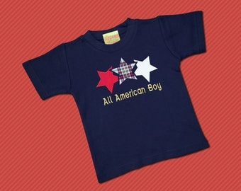 """Boy's Patriotic Shirt Star Trio with Embroidered """"All American Boy"""""""
