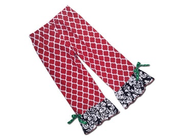 Girl's Ruffle Pants - Red Quatrefoil Black Damask - F55, F57