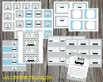 INSTANT DOWNLOAD Printable Little Man Theme Baby Shower Party Package. Baby Blue. Mustache Baby Shower Party Package.