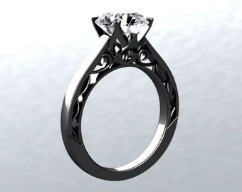 Black Gold Engagement Ring VICTORIAN LOVE 14kt Black Gold 1.40ct Round White Topaz Sollitaire Engagement Ring Wedding Ring Anniversary Ring
