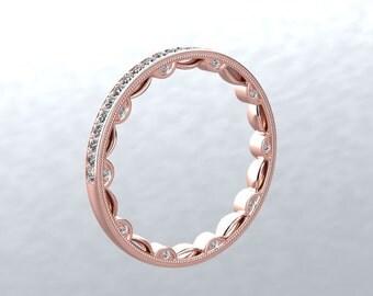 14kt Rose Gold Eternity Diamond Wedding Band Natural DIAMOND  Wedding Anniversary Band Modern Chic Love Design Pristine Custom Rings