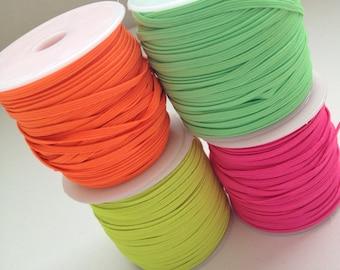 "ORANGE Neon Skinny 1/8"" elastic 5 yards stretchy, headbands, wholesale, supply, neon orange, neon pink, neon green, neon yellow"