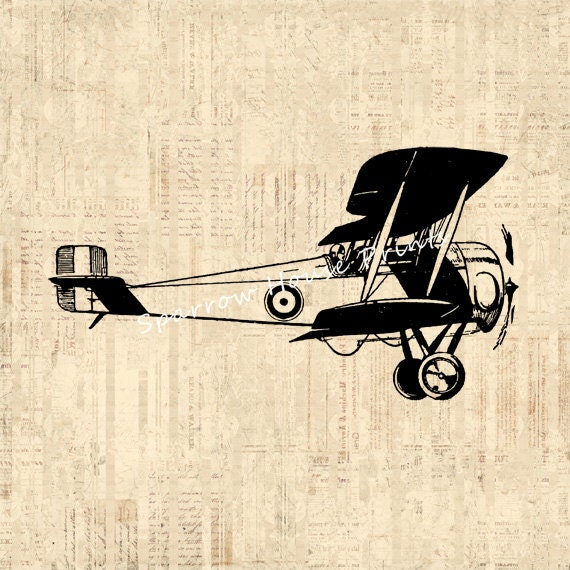 Vintage Plane Wall Decor : Vintage print biplane wall art airplane home decor antique